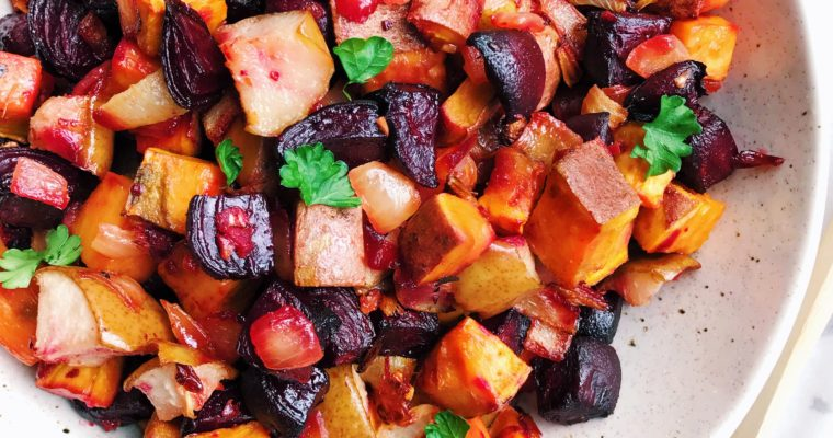 Ginger Roasted Beets, Sweet Potatoes, and Pears