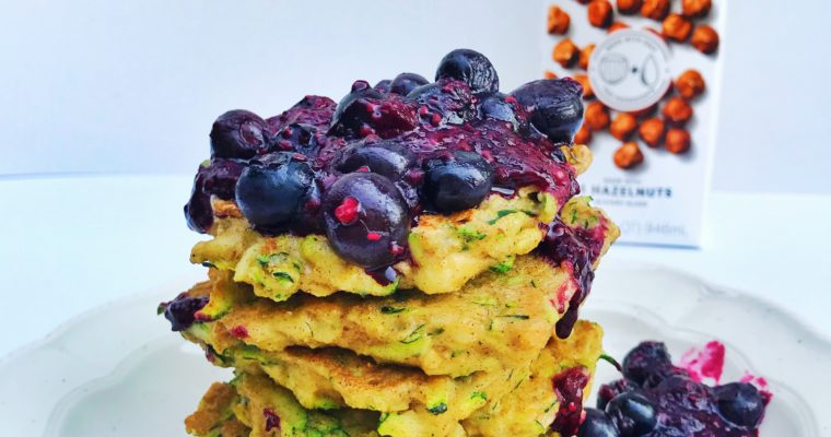 Zucchini Bread Pancakes with Berry Compote