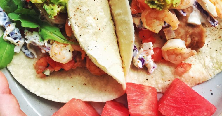 Shrimp Tacos with Spicy No-Mayo Slaw and Guacamole