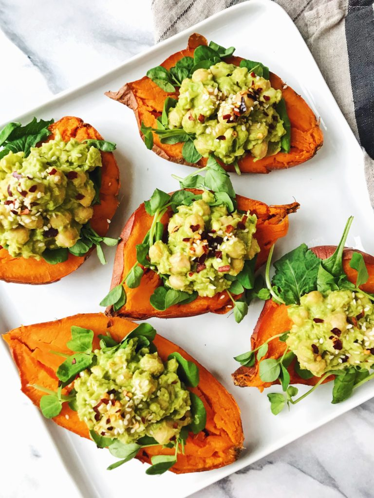chickpea avocado stuffed sweet potatoes