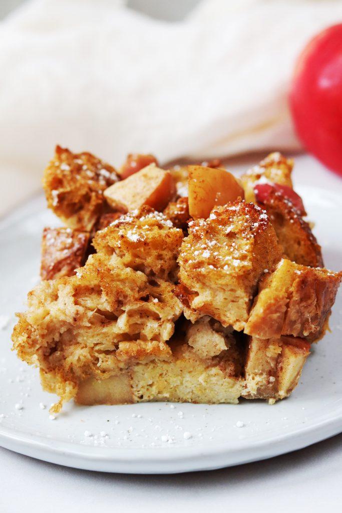 Slice of Apple Cinnamon Sourdough French Toast Bake - Daisybeet