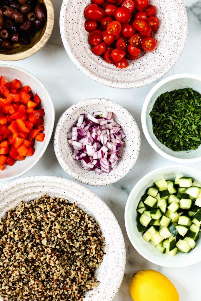 Mediterranean Quinoa Salad Ingredients- Daisybeet