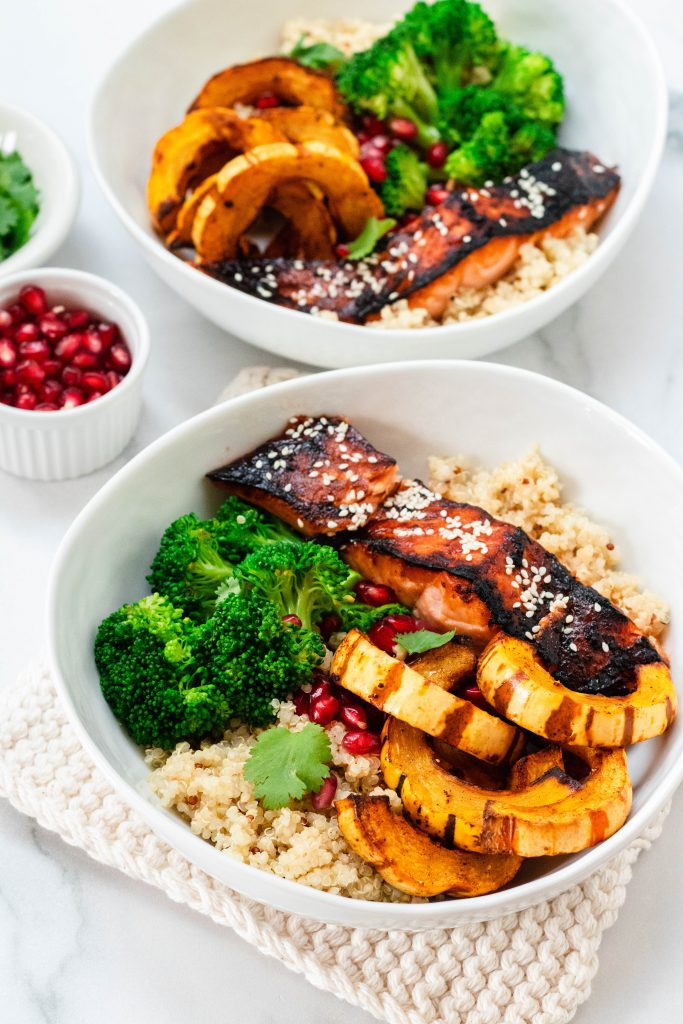 Soy Maple Salmon Bowls with Broccoli, Delicata Squash, and Quinoa - Daisybeet