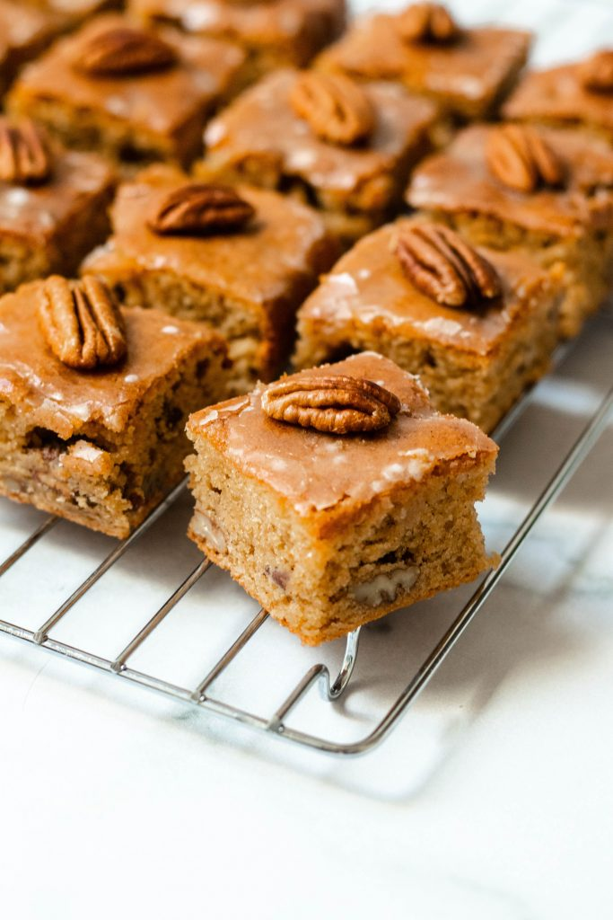 Maple Pecan Tahini Blondies with Maple Glaze (Gluten Free) - Daisybeet