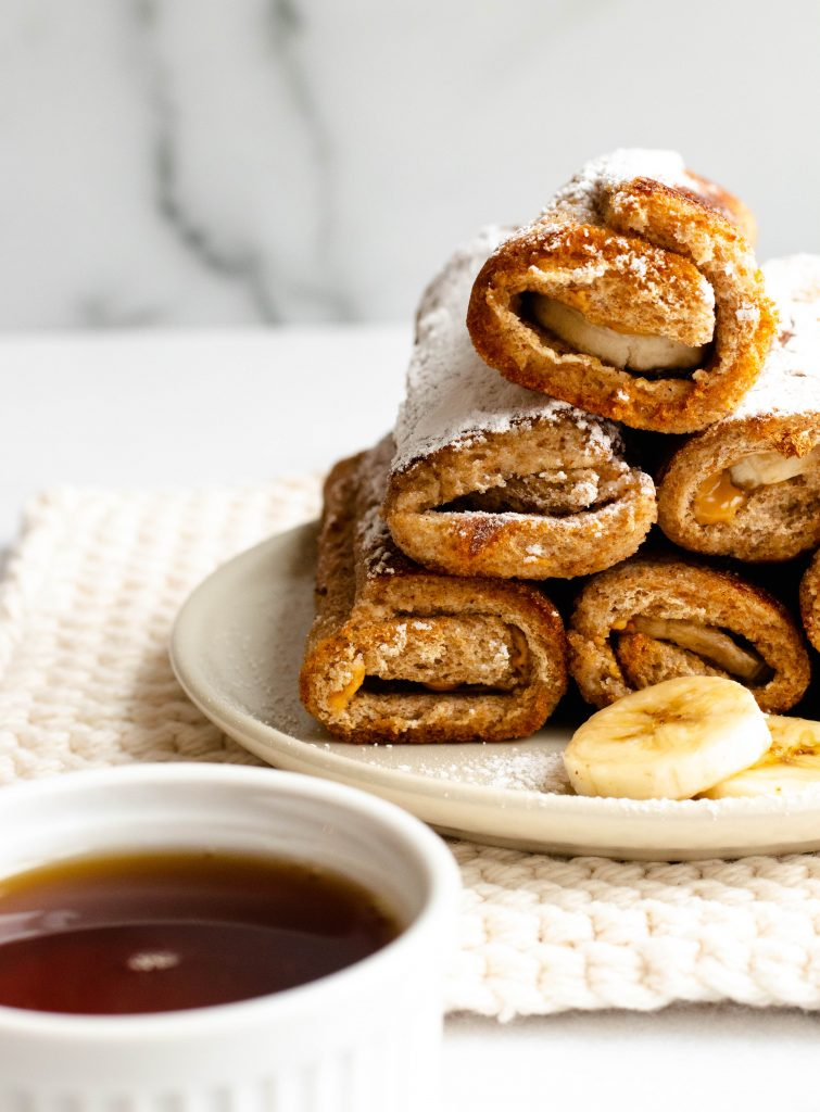 Peanut Butter Banana Chocolate Chip French Toast Roll-Ups (Vegan)   Daisybeet, MS, RD